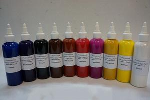 Краска для кожи поможет закрасить потертости и дефекты.